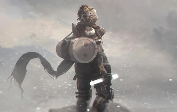 Картинка зима, снег, фантастика, ветер, человек, арт, костюм, шлем, наемник
