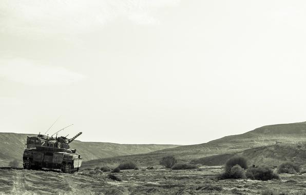 Картинка поле, природа, танк, боевой, основной, Merkava, Израиля, «Меркава»