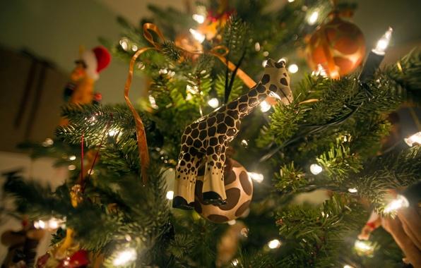 Картинка огни, настроение, праздник, игрушки, елка, новый год, гирлянда