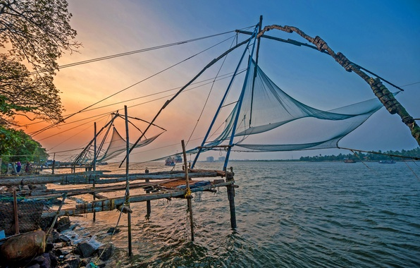 Картинка море, пляж, закат, океан, берег, sea, ocean, sunset, India, рыболовные сети, Kochi, fising nets