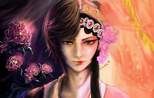 Картинка девушка, украшения, цветы, половина, арт, парень, RikaMello