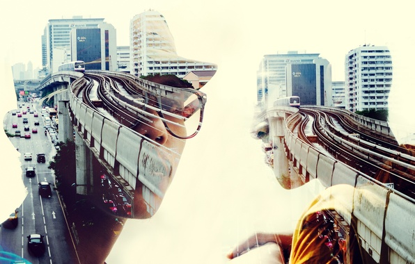 Фото обои men, cityscape, double exposure