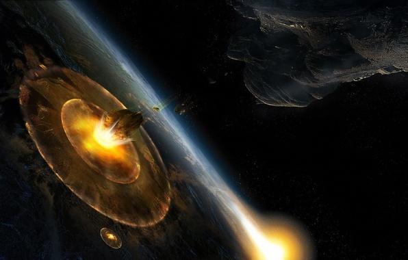Картинка планета, катастрофа, астероид, удар, impact, армагедон