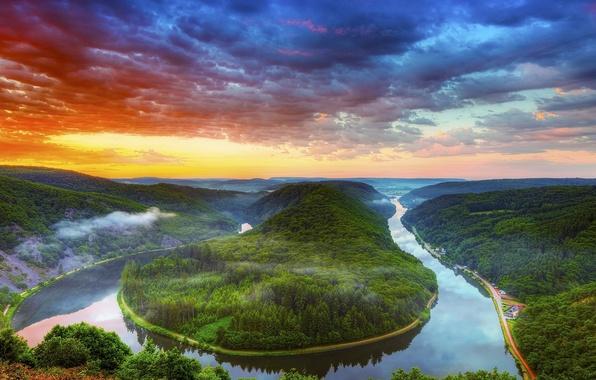 Картинка лес, облака, пейзажи, Деревья, фотографии, закаты, Реки, HDR фотографии