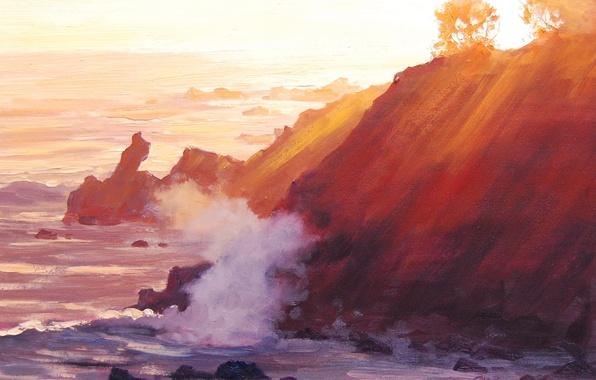 Картинка море, волны, деревья, природа, берег, холм, арт, солнечные лучи, artsaus