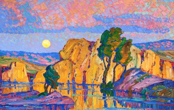 Фото обои картина, Луна, Wild Horse Creek, Late Moon Rising, Birger Sandzen, деревья, озеро, небо, скалы, пейзаж