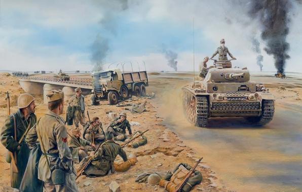 Картинка война, рисунок, солдаты, Африка, немецкий, средний танк, Pz.Kpfw. III