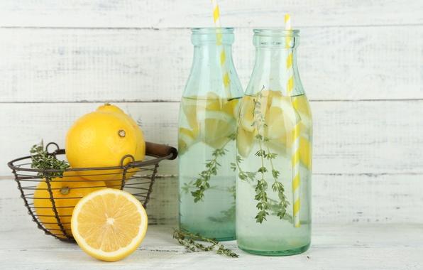 Картинка вода, лимон, цитрус, напиток, лимонад