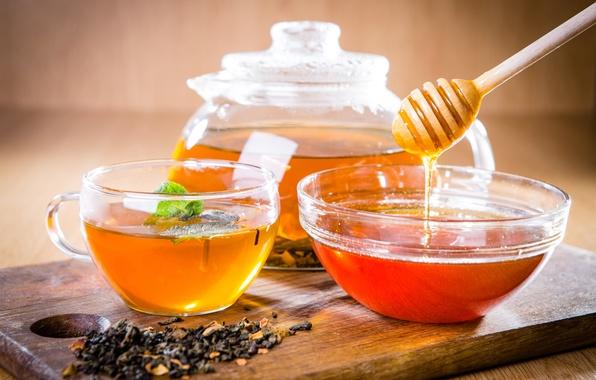 Картинка чай, чайник, мед, ложка, чашка, доска, мёд, заварка, пиала