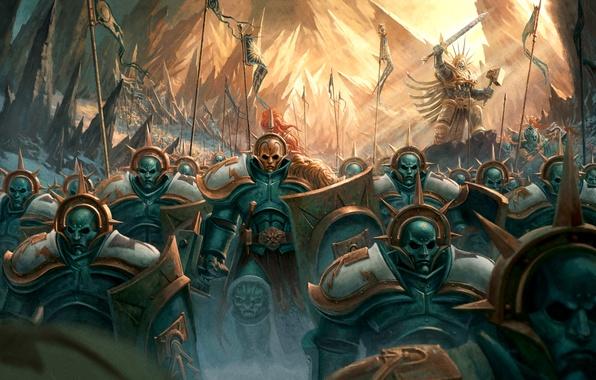 Картинка фантастика, армия, солдаты, броня, Warhammer, командир, мака