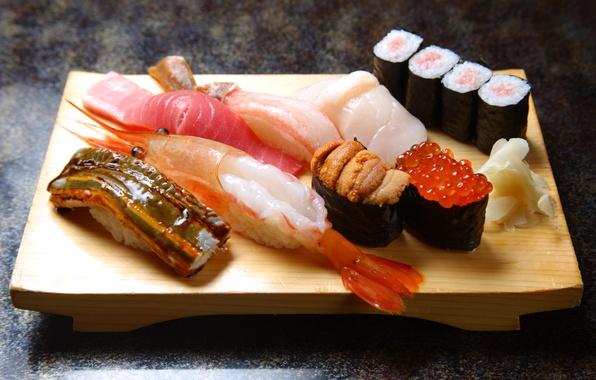 Картинка рыба, креветка, доска, рис, суши, роллы, морепродукты, красная икра