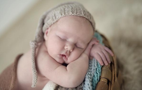 Картинка спокойствие, ребенок, сон, малыш, шапочка, младенец