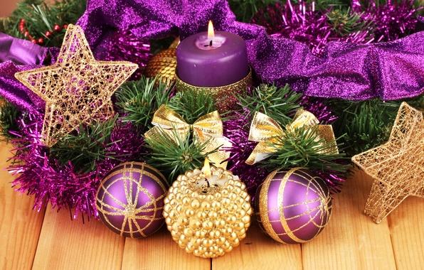 Картинка звезды, украшения, ленты, свечи, new year, stars, Merry Christmas, candles, decoration, ribbon, Новым годом, С …