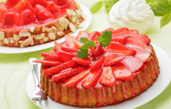Картинка ягоды, клубника, пирог, красные, крем, десерт, выпечка, сладкое