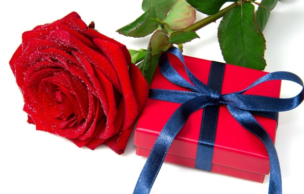 Картинка красный, праздник, коробка, подарок, widescreen, обои, роза, новый год, рождество, лента, wallpaper, new year, широкоформатные, ...