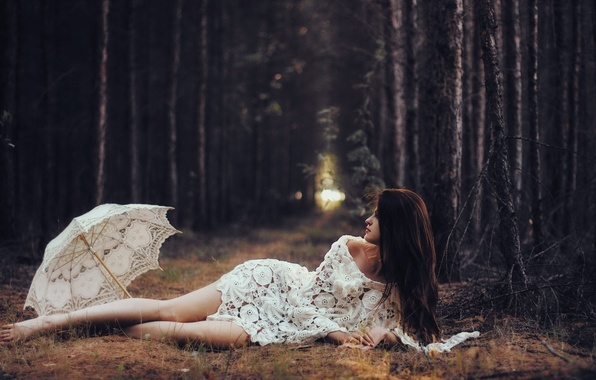 Картинка лес, девушка, зонт