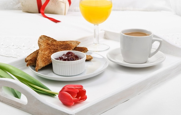Картинка цветок, тюльпан, кофе, завтрак, сок, тарелка, джем, поднос, тосты, апельсиновый