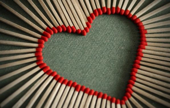 Картинка макро, любовь, креатив, настроение, романтика, сердце, Love, спички, красные, red, сердечко, heart, macro, любовь зажигает