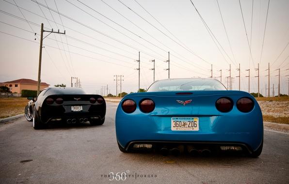 Картинка corvette, black, chevrolet, blue