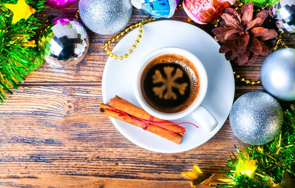 Картинка украшения, шары, кофе, Рождество, Новый год, корица, Christmas, снежинка, decoration, xmas, Merry