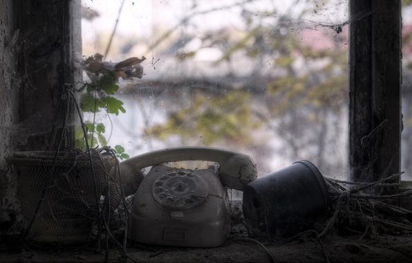 Картинка макро, окно, телефон