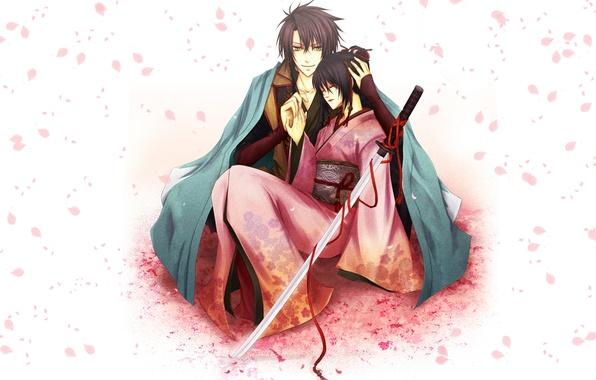 Картинка девушка, катана, лепестки, сакура, форма, парень, кимоно, красная лента, Содзи Окита, Hakuouki, Тидзуру Юкимура, Демоны …