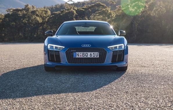 Картинка машина, асфальт, Audi, фары, решетка, передок, V10