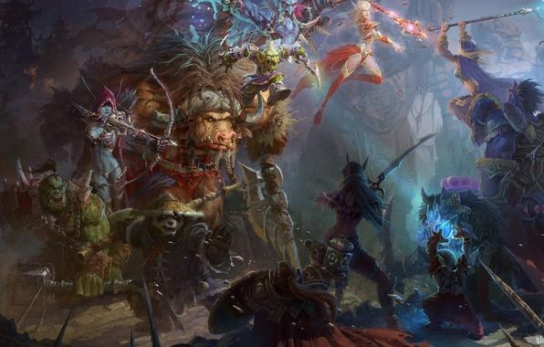 Картинка оружие, арт, панда, World of Warcraft, битва, wow, персонажи, Mists of Pandaria, sylvanas, windrunner