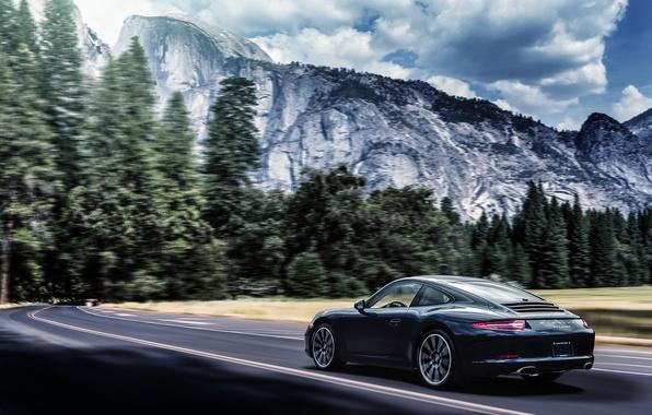 Картинка горы, 911, Porsche, black, Carrera, rear, 991