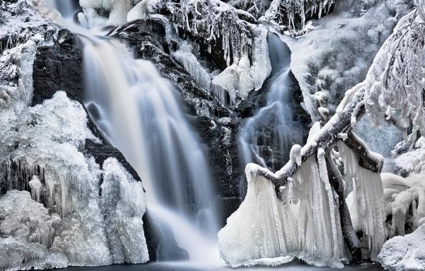 Картинка зима, иней, вода, снег, деревья, природа, скалы, водопад, сосульки, льдины, заморожено