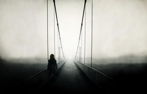 Картинка дорога, пейзаж, мост, туман, люди, настроение, забор, человек, вид, ограда, дорожка, поручни, мужчина, парень, мостик, …