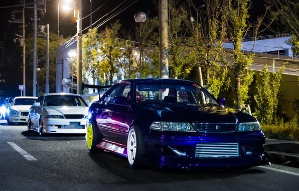 Обои белый, ночь, тюнинг, Toyota, tuning, тойота, темно ...