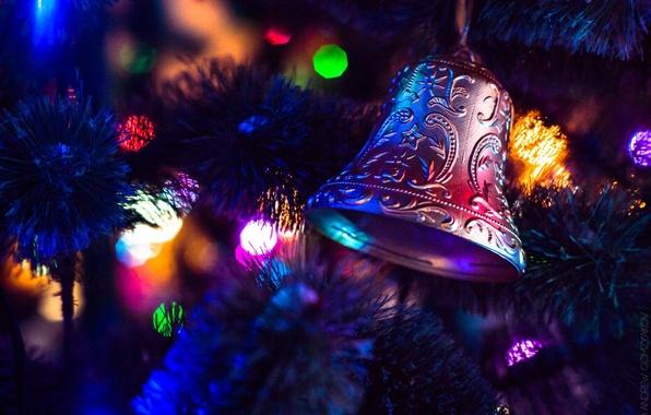 Картинка зима, lights, огни, новый год, рождество, christmas, new year, winter, bell, колокол