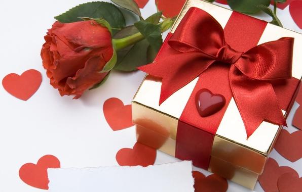 Картинка цветок, любовь, цветы, праздник, подарок, сердце, роза, лента, бант, сердечко, сюрприз