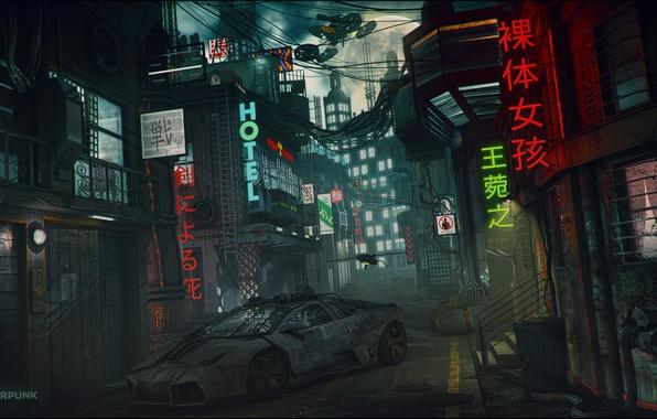 Картинка ночь, город, фантастика, луна, арт, переулок, lamborghini, cyberpunk