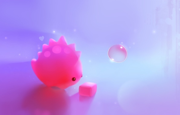 Картинка розовый, динозавр, арт, кубик, куб, пузырь, сердечко, apofiss