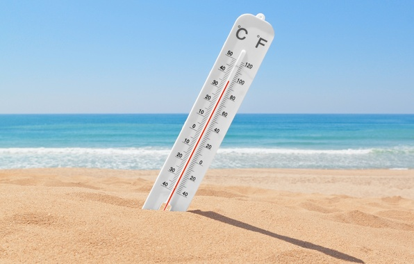 Картинка песок, лето, жара, градусник, температура