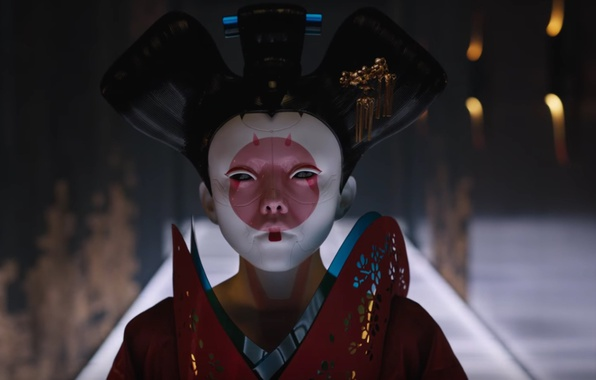Картинка cinema, Japan, girl, robot, mecha, woman, movie, Ghost in the Shell, flag, assassin, asian, film, …