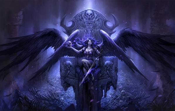 Картинка девушка, сияние, смерть, череп, крылья, ангел, меч, перья, кости, скелет, skull, girl, sword, руины, трон, ...
