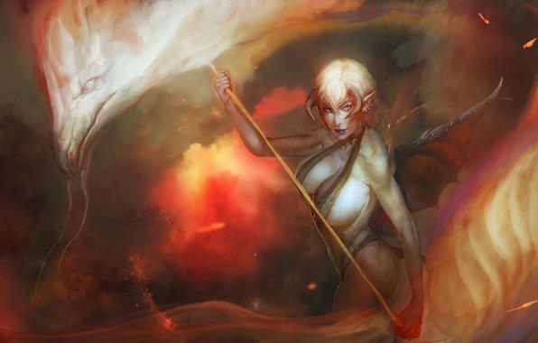 Картинка девушка, фантастика, огонь, пламя, дракон