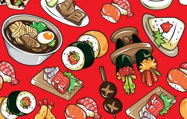 Картинка текстура, texture, rolls, sushi, суши, роллы, японская кухня, Japanese cuisine