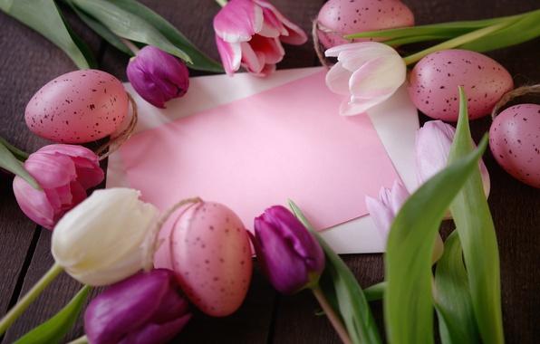 Картинка цветы, бумага, праздник, яйца, Пасха, тюльпаны, конверт, карточка, Easter, крашенки