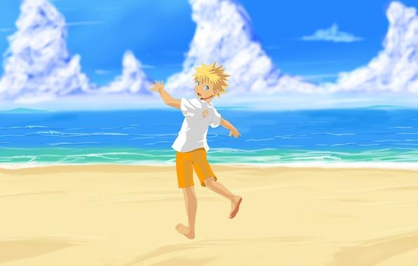 Картинка море, пляж, арт, Аниме, Наруто, Naruto, Uzumaki Naruto, Узумаки Наруто