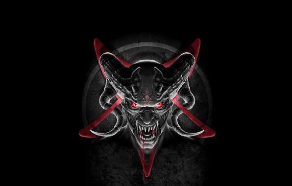 Картинка кровь, звезда, демон, клыки, рога, дьявол, сатана, пентограма