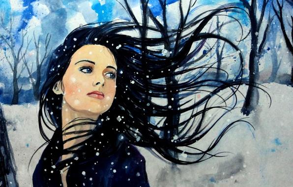 Картинка зима, небо, взгляд, девушка, снег, деревья, лицо, ветер, волосы, арт, голубые глаза, живопись