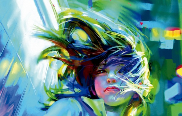 Картинка девушка, лицо, ветер, волосы, арт, benjamin, Zhang Bin