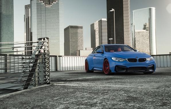 Картинка BMW, Blue, Front, Vorsteiner, Sun, Widebody, Photoshoot, GTRS4