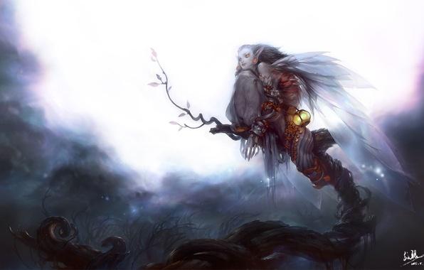 Картинка девушка, ночь, дерево, луна, крылья, арт, фонарь, нежить, Mingzhu Yang
