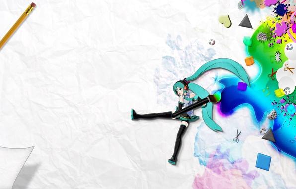 Картинка бумага, краски, рисунки, карандаш, vocaloid, hatsune miku, кисть