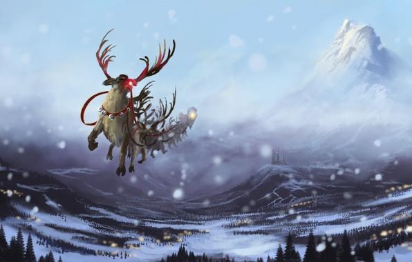 Картинка зима, снег, полет, горы, замок, новый год, арт, упряжка, олени